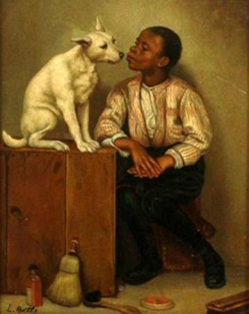 Black Boy With Dog