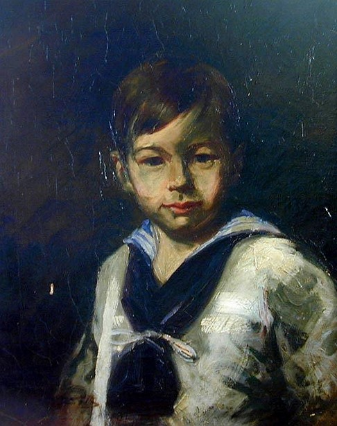 Little Boy Dressed In Sailor Outfit