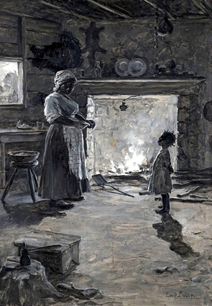 Mother And Child At The Hearth