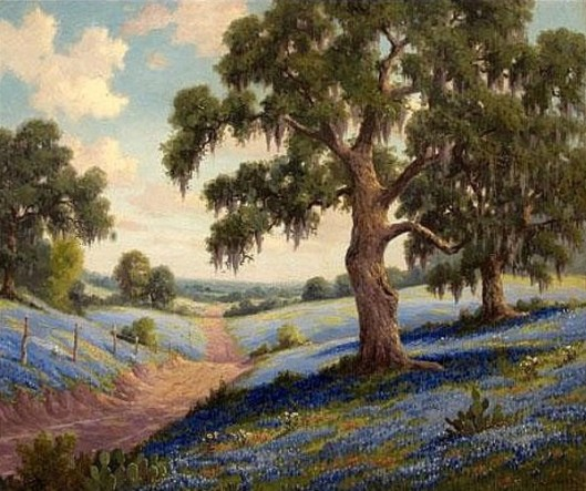 Bluebonnets In A Texas Landscape