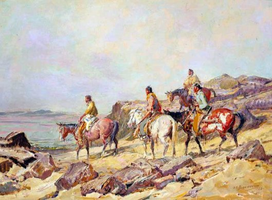 Indians In Rocky Landscape