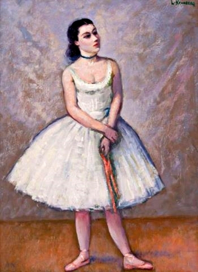 Dancer In White - Dancer With Pink Ribbon