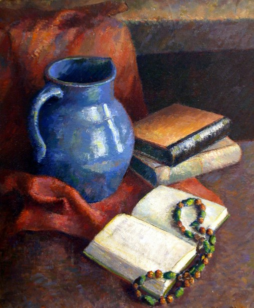 Still-Life With Blue Jug, Books And Beads