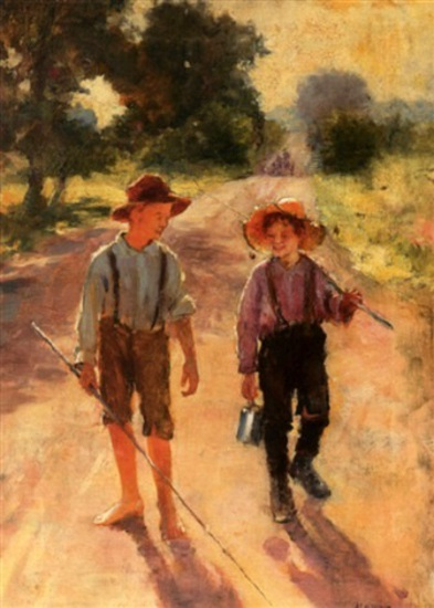 Two Boys On A Lane Going Fishing