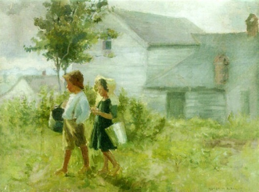 Two Children Walking With Pails