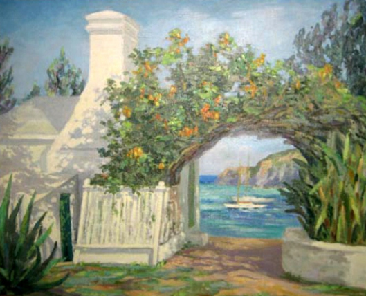 View From Bermuda Cottage With Floral Archway