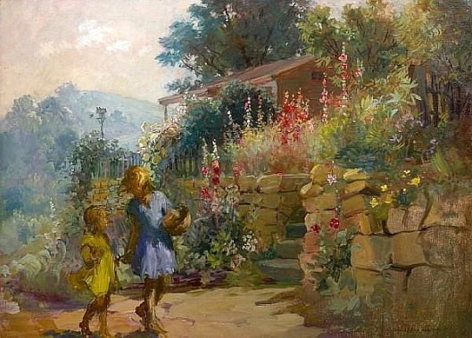 Wall Flowers - Girls And Hollyhocks