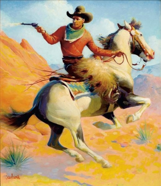 Cowboy On Horseback Firing A Gun