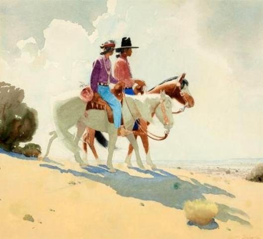 Navajos On Horseback