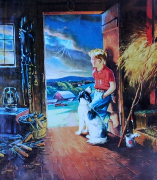 Boy In Barn Looking At Storm