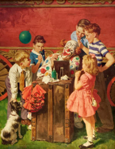 Children And Circus Clown