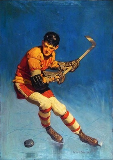Hockey Player Ready To Slap Puck