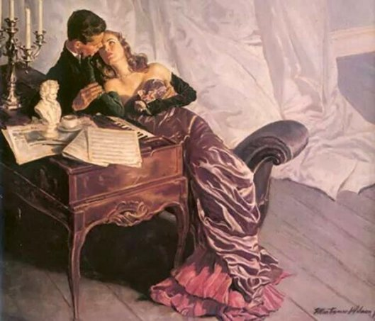 Couple Embracing At The Piano