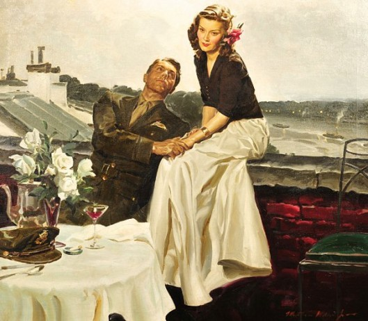 Couple At European Rooftop Restaurant