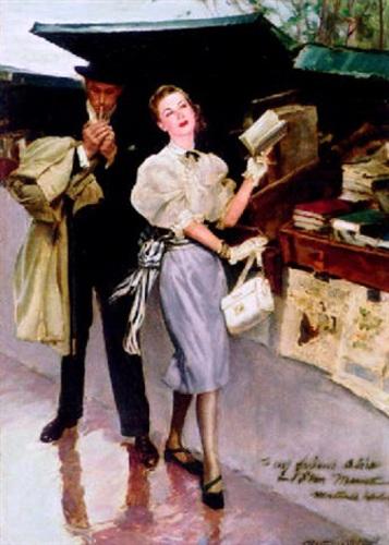 Couple At Parisian Bookstall