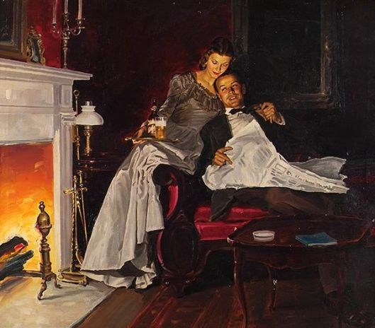 Couple Next To Fireplace
