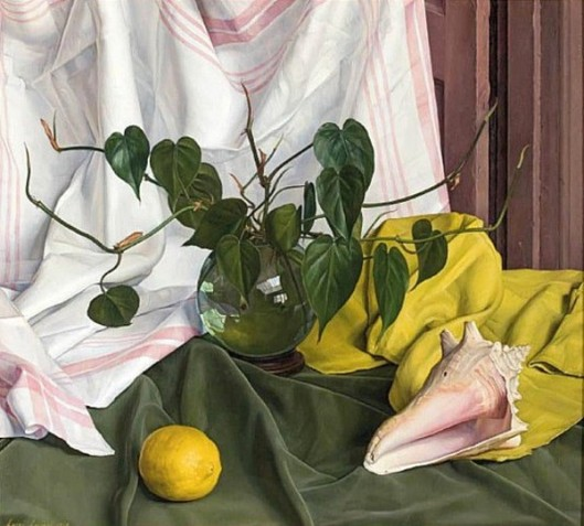 Related Rhythm - Still Life With Glass Vase Of Grens, Lemon And Conch Shell