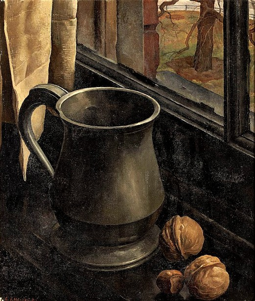 Still Life Of A Pewter Mug With Walnuts And Hazelnut