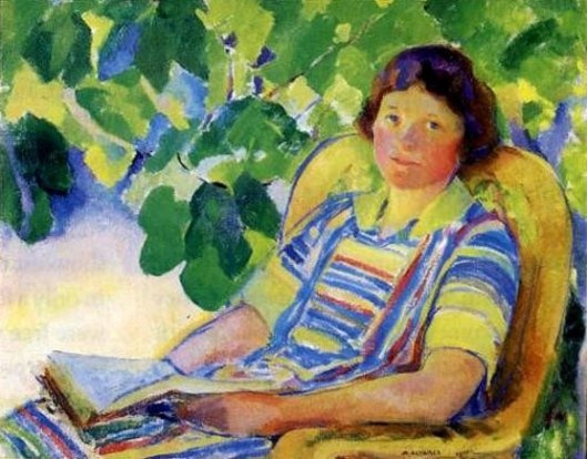Girl Seated In The Garden