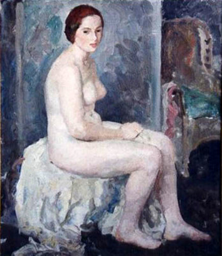 Nude Seated On White Cloth