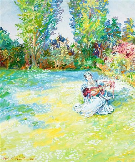 Daisy Lawn With Figure Playing Lute