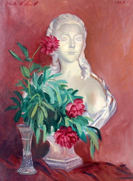 Still Life With Flowers And Marble Bust