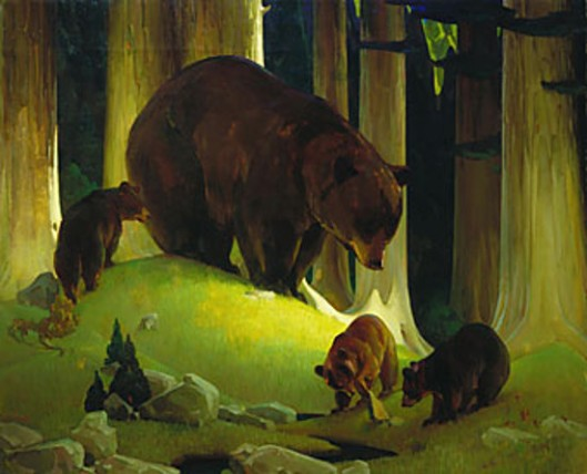 Mother Bear And Three Cubs