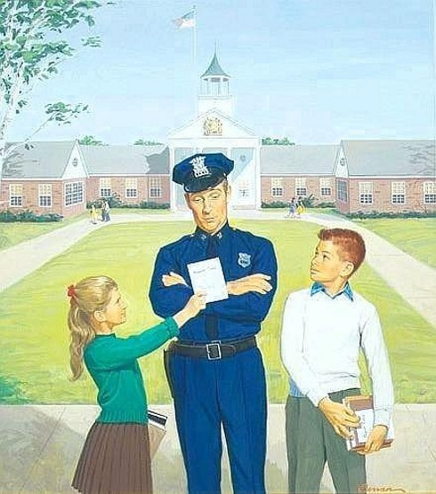 Policeman Looking At Children's Report