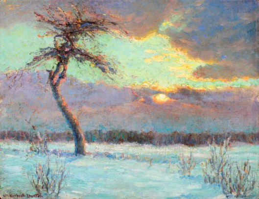 Tree With Sunset On Snow