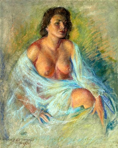 Seated Brunette, Bare Breasts