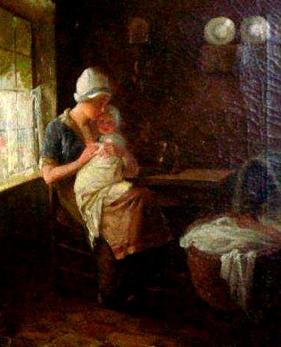Dutch Interior Scene With Mother And Child