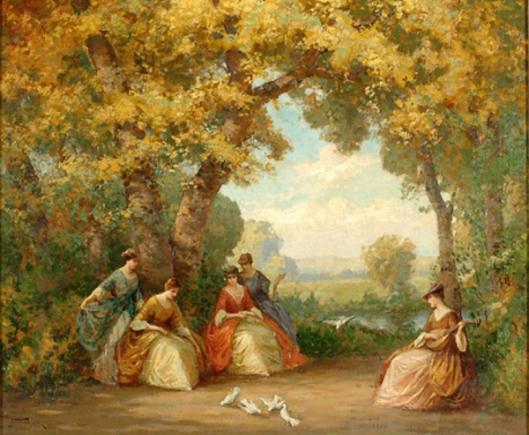 Ladies Feeding Doves