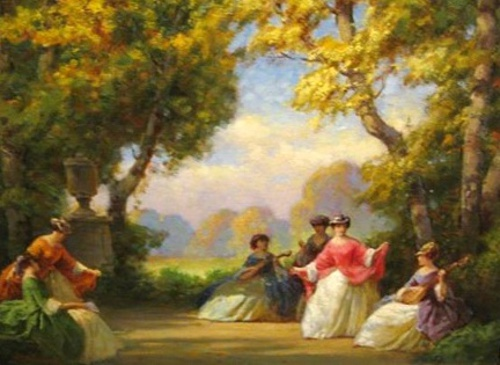 Ladies Playing Music In A Garden