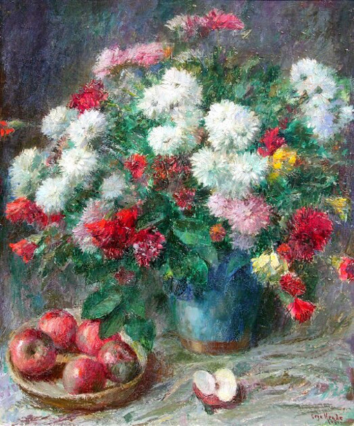 Still Life With Carnations And Apples