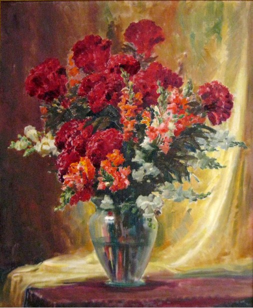 Still Life With Red Carnations And Snap Dragons