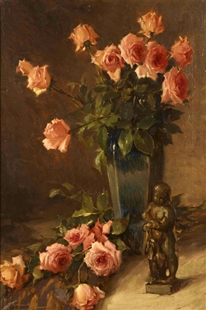 Still Life With Roses And Bronze Figure