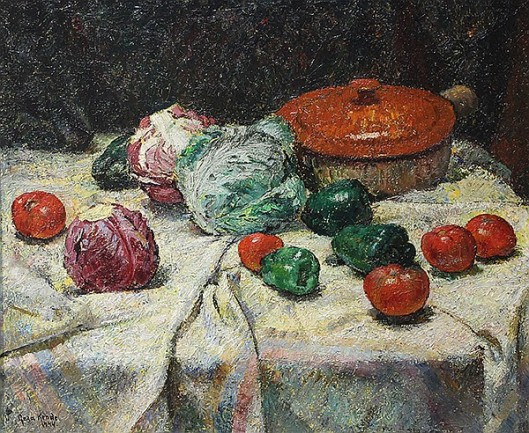 Still Life With Vegetables - Stoneware And Cabbage