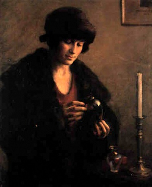 Young Woman Looking At A Glass Vase