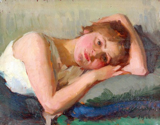 Girl Reclining On Pillow