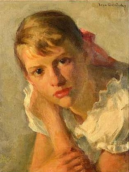 Young Girl In A White Frock - Girl With A Red Bow