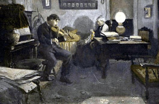 Man Playing The Violin By Lamplight