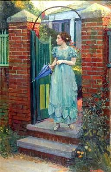 Woman At The Gate About To Raise Her Parasol