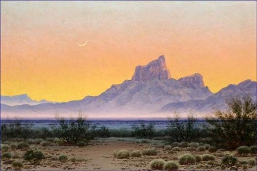 Desert Nocturne Landscape - Crescent Moon