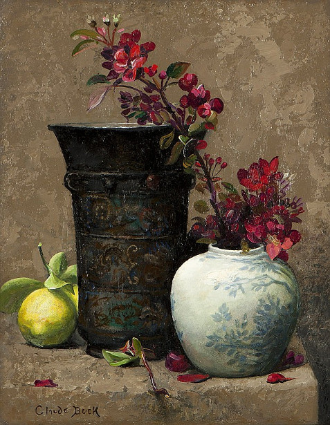 Still Life With Quince Blossoms In A Chinese Ginger Jar, A Lime And A Bronze Vessel