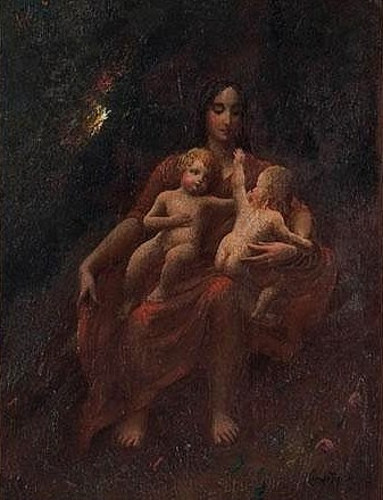 The Artist's Wife And Twin Children