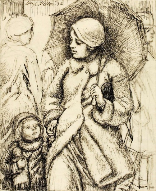Woman With Umbrella And Child