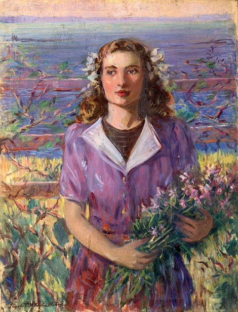 Young Woman Holding A Bunch Of Flowers By The Shore