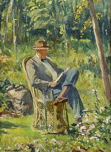 Garden View With A Gentleman Reading