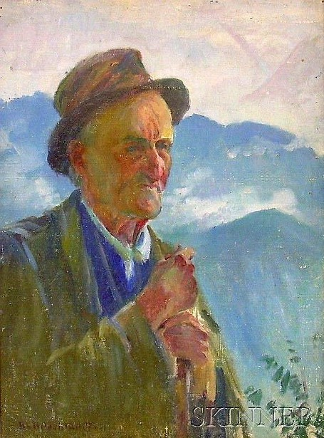 Portrait Of A Man With Distant Mountains