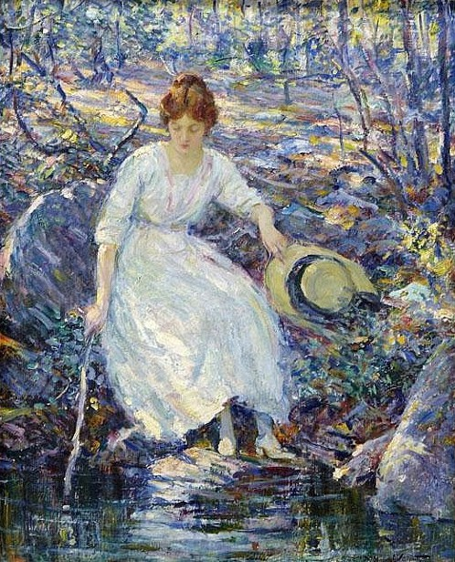 Woman By A Stream